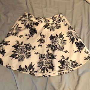 Black and White Rose Skirt